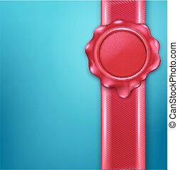 vector wax seal with red ribbon on a blue background