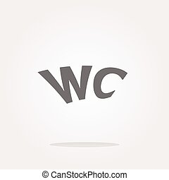 vector wc icon, web button isolated on white