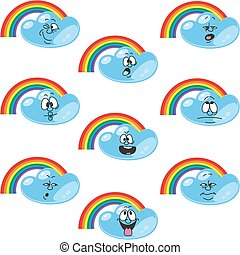 Weather cartoon rainbow set 002
