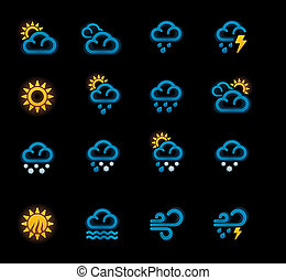 Vector weather forecast icons. P.1 - Set of the day weather ...