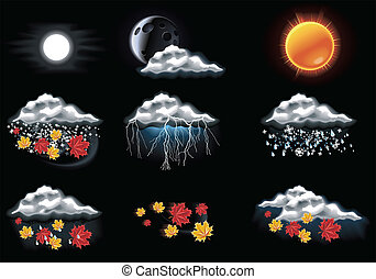 Vector weather forecast icons. P.2 - Set of the weather ...