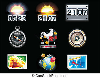 Vector weather forecast icons. P.4