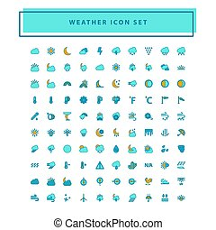 Vector weather icon set with filled outline style design