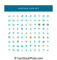 Vector weather icon set with flat color style design
