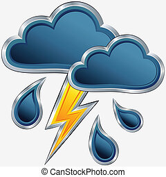 vector an icon of bad weather with clouds, a storm, a rain and a lightning