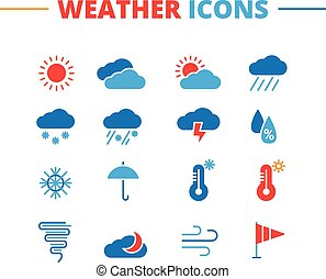 Vector weather icons set. Minimalistic flat style symbols collection