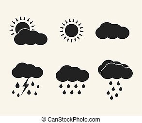 Vector weather icons set. Sun, clouds, rain, lightning.
