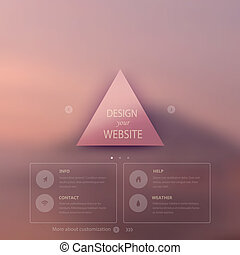 Vector web and mobile interface template. Corporate website design. Minimalistic multifunctional media backdrop. Vector. Editable. Triangle badge label, background. Blurred. Options. Flat icon