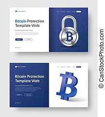 Vector web banner template with padlock and 3d bitcoin icon.