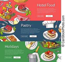 Vector web banner templates with hand drawn restaurant