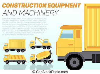 Vector web banner with construction trucks
