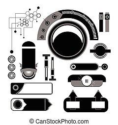 Vector web buttons black white set