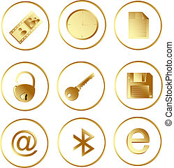 Vector web buttons - Vector of the gold round web buttons...