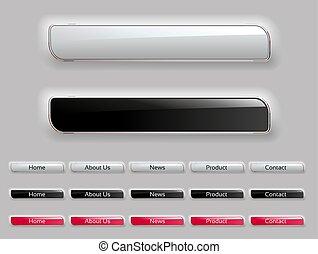 Vector web design menu buttons. Website navigation bar. ...