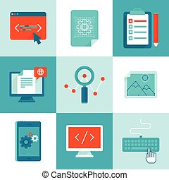 Vector web development and programming icons in flat style -...