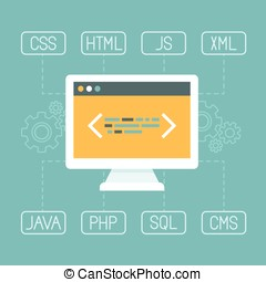 Vector web development concept in flat style