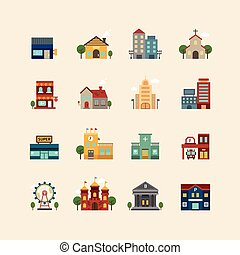 vector web flat icons set - buildings collection of city...