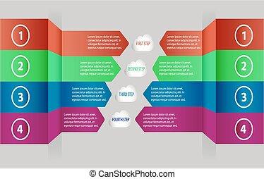 vector, web, gebruikt, diagram, zijn, op, opties, moderne, getal, workflow, opmaak, groenteblik, stap, communie, illustratie, richtingwijzer, infographics, eps10., design.