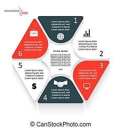 vector, web, grafisch, gebruikt, presentation., zakelijk, zijn, segmenten, zes, opmaak, workflow, diagram, plan, of, infographic, illustratie, mal, opleiding, ontwerp, groenteblik