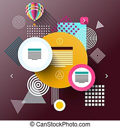 Vector Web Graphic Flat Design Background. Modern Infographic Concept with Colorful Circles.