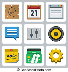 Vector web icons, flat style