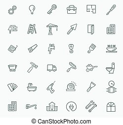 icons set - construction, home repair tools