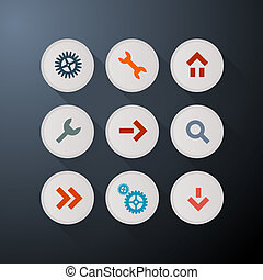 Vector Web Icons Set on Dark Background