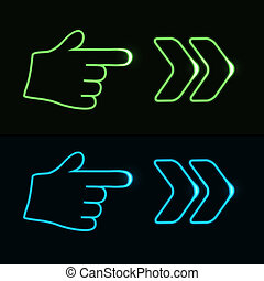 Vector web neon pointer - arrow, hand - EPS 10