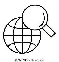 Vector web search icon. Magnifying glass and globe. linear pictogram, outline symbol, simple thin line icon