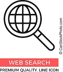 Vector web search icon. Magnifying glass and globe. Premium quality graphic design elements. Modern sign, linear pictogram, object, outline symbol, simple thin line icon