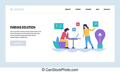 Vector web site design template. Business solution and new creative idea. Landing page concepts for website and mobile development. Modern flat illustration.