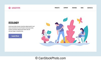 Vector web site gradient design template. People plant tree in a park. Landing page ecology concepts for website and mobile development. Modern flat illustration.