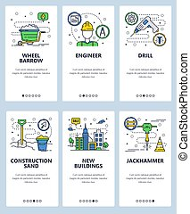 Vector web site linear art onboarding screens template. Building counstuction industry. Hardware tools, drill, jackhammer, wheel barrow. Menu banners for website and mobile app development. Modern design flat illustration.