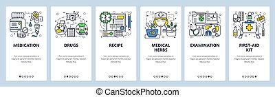 Vector web site linear art onboarding screens template. Healthcare and medicine icons. Drugs, first aid kit, nurse. Menu banners for website and mobile app development. Modern design flat illustration.