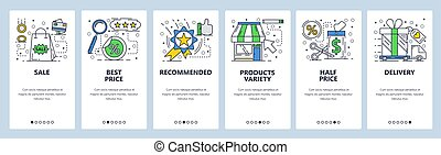 Vector web site linear art onboarding screens template. Shopping, sales and best price tag. Menu banners for website and mobile app development. Modern design flat illustration.