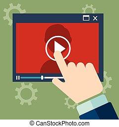 vector, webinar, concepto, en, plano, estilo, -, jugador video, -, educación en línea
