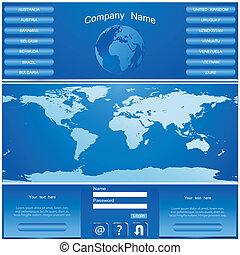 vector, website, ontwerp, mal