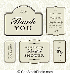 Vector Wedding 5 Frame Set. - Set of 5 ornate wedding frames...