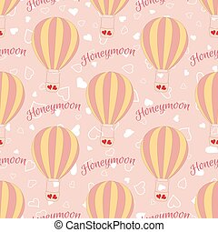 Vector wedding balloon with red hearts seamless pattern....