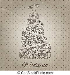 Vector wedding cake - Wedding cake with floral ornament. ...