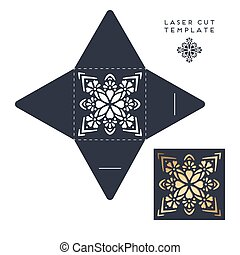 Vector wedding card laser cut template with mandala - Vector...