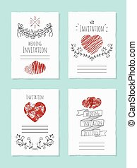 Vector wedding card with drawn heart