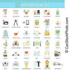 Vector wedding color flat icon set. Elegant style design.