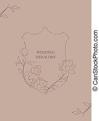 Vector wedding heraldry with Jasmine Flowers