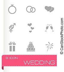 Vector wedding icon set on grey background