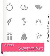 Vector wedding icon set on grey background