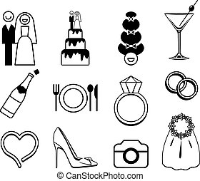 Vector wedding icons set