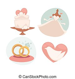 Vector wedding illustrations with marriage symbols.