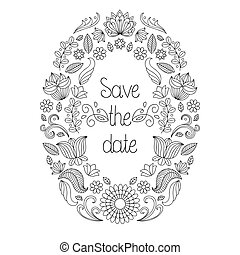 Vector wedding invitation card in floral frame and text save the date.