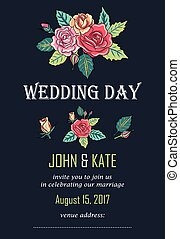 vector wedding invitation card with roses decoration